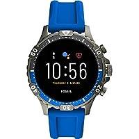 Fossil Garrett HR - Montre connectée Gen 5 avec Bracelet en Silicone Bleu pour Homme FTW4042