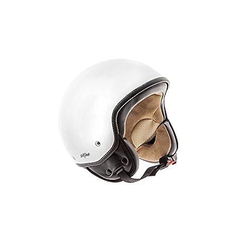 SOXON SP-301 Snow Motorrad-Helm Roller-Helm Jet-Helm Bobber Scooter-Helm Pilot Cruiser Vintage Mofa Chopper Helmet Biker Vespa-Helm Retro, ECE zertifiziert, inkl. Stofftragetasche, Weiß (Snow), S (55-56cm)