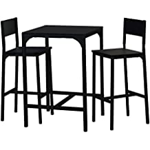 13Casa black d21 set tavolo + 2 sgabelli. dim. tavolo 60*60*86,8h cm. sgabello 35*41*95,5h cm. mdf + m