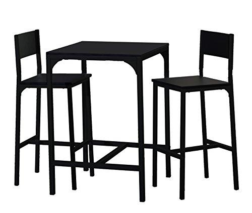 Demeyere 365746 Kool Set de 1 Table + 2 Chaises Métal Noir