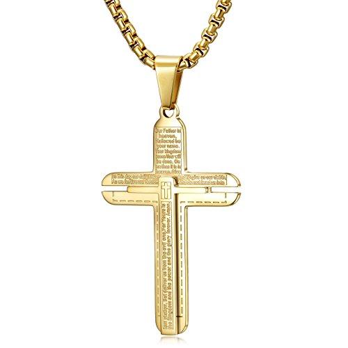WISTIC Halskette Herren Damen Kreuz Kette Gravur Edelstahl für Freund Jungen Geschenk mit Schmuckbox Gold (24.5)