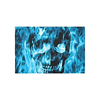 BAOQIN Tapisserie Skull Emerge from Blue Fire Or Blue Smoke Tapestries Wall Hanging Flower Psychedelic Tapestry Wall Hanging Indian Dorm Decor for Living Room Bedroom 80 X 60 inch
