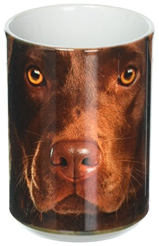 Erwachsene Schokolade Tee T-shirt (The Mountain 57355009011 Chocolate Lab Face Kaffeetasse, 450 ml, Weiß)