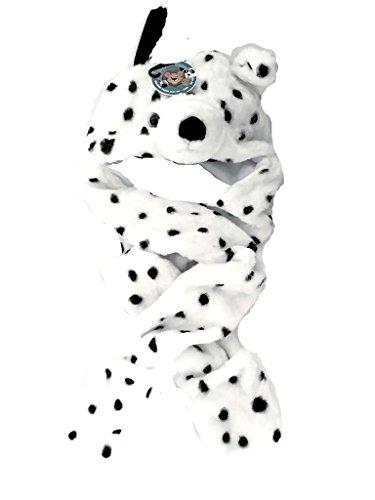 Kinder Kinder- Tierpelz Kopf Trappermütze Hood Schal Rundschal Handschuhe Schwarz-Weiß- - Cruella Kostüm Kind