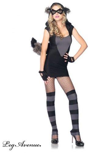 isky Raccoon Kostüm, Größe: M/L, schwarz/grau (Waschbär-halloween-kostüm)