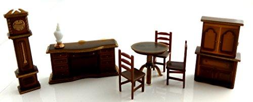 Puppenhaus Miniatur 1:48 Maßstab Kunststoff Esszimmermöbel Set Gruppe