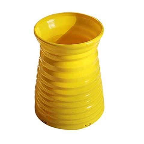Rattan Vase Basket, Cinnamou Flowers Meters Orchid Artificial Flower Set (Yellow)