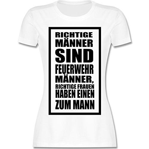 Feuerwehr - Feuerwehr - Richtige Männer - tailliertes Premium T-Shirt mit Rundhalsausschnitt für Damen Weiß