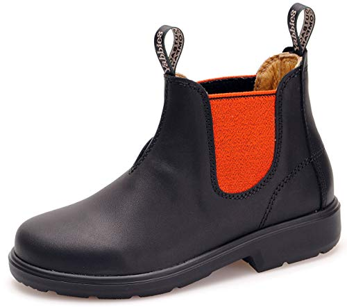 Yabbies for Kids Leder Boots Schuhe für Kinder Stiefelette – Black/Orange + Lederwax von Solitaire (UK 02 / EU 34.5)