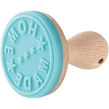 Zeller 42824 Candy - Home Made Tampon à Gâteau Bois de Hêtre/Silicone Bleu Claire/Marron 6,5 x 6,5 x 6,5 cm
