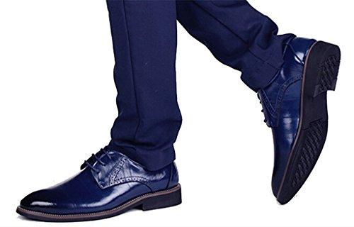 DADAWEN Homme Classique Commercial Leather Chaussure Bout Pointu Bleu