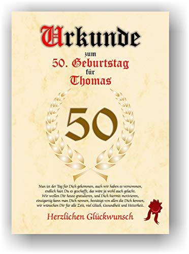Urkunde zum 50. Geburtstag - Glückwunsch Geschenkurkunde personalisiertes Geschenk Gedicht Grußkarte Geschenkidee mit Spruch DIN A4