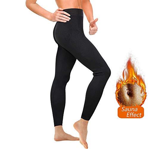 Leggings dimagrante donna fitness, pantaloni sportivi vita alta, leggings anticellulite in neoprene per sudorazione - effetto snellente, contenitivo e push up - palestra,yoga,running (xl, black04)