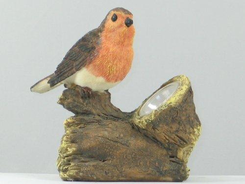 Wunderschöne LED Solar Beleuchteter 'Vogel auf dem Baumstamm' orange-braun aus halb durchsichtigem...