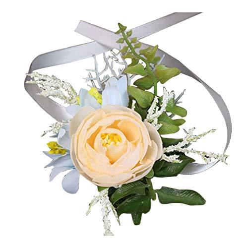 CARRYKT Hochzeit Bevorzugungen Handgelenk Corsage Boutonniere Künstliche Champagner Rose Blume Brosche Bouquet Bräutigam Braut Brautjungfer Armband