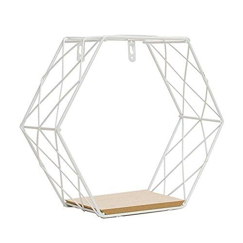 Mensola a muro combinazione di griglia esagonale in ferro mensole a muro decorazione geometrica figura per soggiorno camera da letto per piante espositore magazzino di libri a libro arredamento
