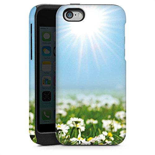 Apple iPhone 5s Housse Étui Protection Coque Prairie de fleurs Pâquerette Fleurs Cas Tough brillant