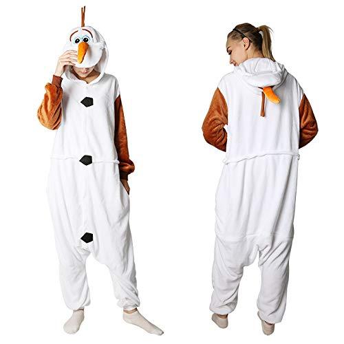 JYLW Damen Schlafanzug Erwachsene Einteilige Onesie Einhorn Halloween Kostüme Für Frauen Monster Hooded Winter Warme Frauen Tier Pyjamas, Schneemann Pyjamas, ()