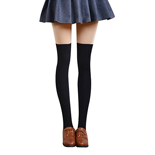 Andy's Share Frauen Mädchen Schenkel Overknee Strümpfe Baumwolle Strümpfe Socken (Schwarz)
