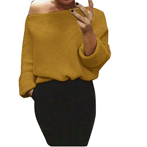Ronamick Damen Pullover Sweatshirt Langarm off Schulter Schläger Gestrickt Plus Size Sweater Pullover Strick Cardigan (Gelb, S) (Gelb Kaschmir-pullover)
