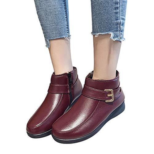 TianWlio Stiefel Frauen Herbst Winter Schuhe Stiefeletten Boots Retro Stiefel Seitlicher Reißverschluss Kurze Plüsch Baumwolle Schuhe Gürtelschnalle Knöchel Boots Wein 37