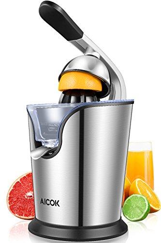 Aicok Zitruspresse Elektrisch  von 160 Watt, Leistungsstarke Edelstahl Zitruspresse mit Soft-Griff und Anti-Tropf Mechanismus, fürdas Auspressen frischer Orangen und Zitronen, sehr leiser Motor