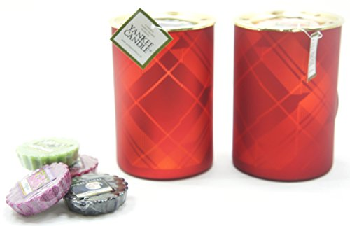 2x Offizielle Yankee Candle Traditionelle Schöne Rot Tartan Flicker Wax Melt Wärmer Brenner inkl. 6x Sortiert Tarts