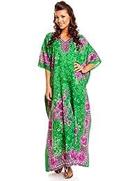 """Neuf Femmes Surdimensionné Maxi Kimono Tunique Caftan Robe Caftan Grande Taille 10 - 28 - Vert, EU 52-56(Taille fabricant 31"""")"""