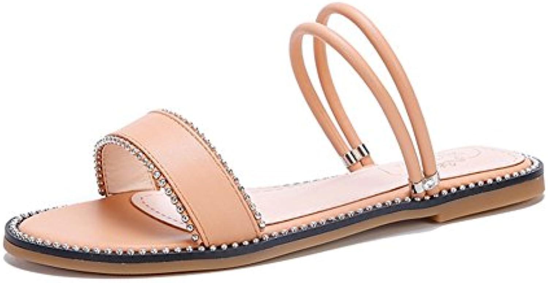 HN Shoes Mujer Verano playa Sandalias Redondo Mirar furtivamente Dedo del pie Diamante Bohemia Chanclas Ponerse...