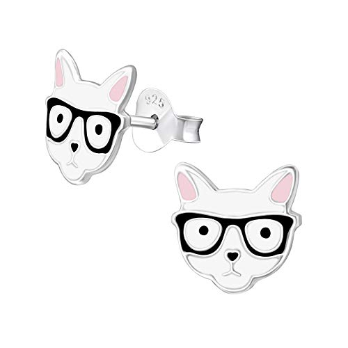 Monkimau 925 Sterling Silber Hipster Katzen Ohrringe Brille Kinder-Schmuck Kinder-Ohrstecker Damen Frauen Mädchen-Ohrstecker Glückskatze-n