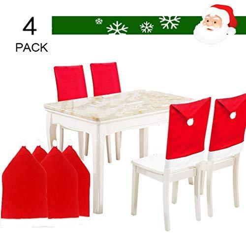 MOHSLEE 4 Stück einfarbige Weihnachtsmann-Mütze, roter Hut, Stuhlrücken, Küche, Abendessen, Party, Dekoration, Set von 4 Stück, Baumwolle, 4 Stück, Einheitsgröße