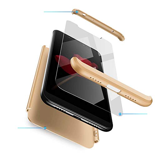 cmdkd Xiaomi Redmi Note 6 Pro Hülle, Hardcase 3 in 1 Handyhülle 360 Grad Hülle Full Cover Case Komplett Schutzhülle Glatte Bumper + Panzerglas für Xiaomi Redmi Note 6 Pro,Gold