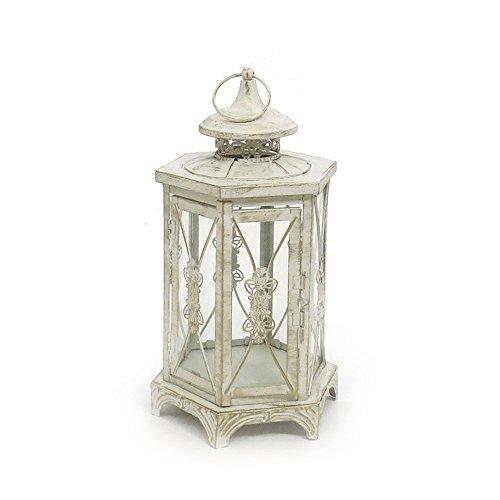 e weiß antik aus Metall 6-eckig Ornament verziert - KLEIN (Kleine Weiße Laternen)