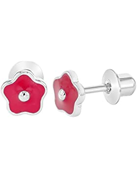 In Season Jewelry Baby Kinder - Schraubverschluss Ohrringe Rosa Emaille Blume Rhodiniert 5mm