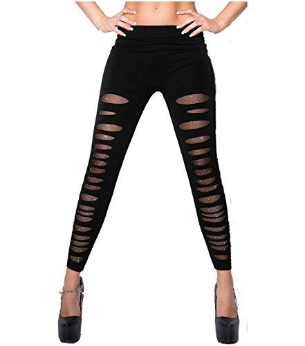 Glamour Stretch Leggins Risse unterlegt mit Spitze, Netz oder Leo Muster auch im Leder Look Größe (34-40) (Schwarz Netz Strass)