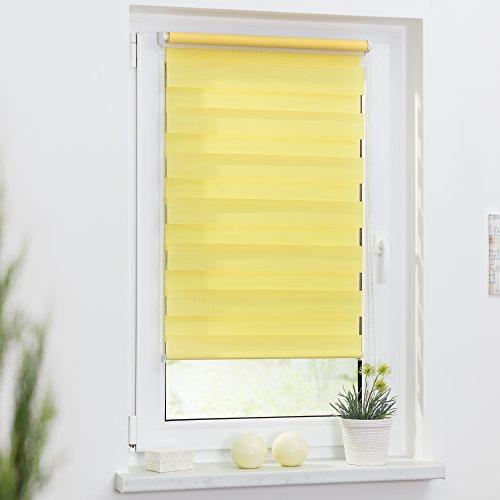 Lichtblick Duo-Rollo Klemmfix, 80 cm x 150 cm (B x L) in Gelb, ohne Bohren, Doppelrollo für Fenster & Türen, moderner Sichtschutz, innovative Kombination aus Rollo & Jalousie - 3