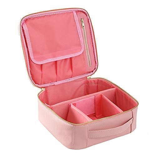 Tragbare waschbeutel reise make-up aufbewahrungsbox große kapazität wasserdicht doppel große make-up tasche multifunktions schutzhülle für frauen-Pink