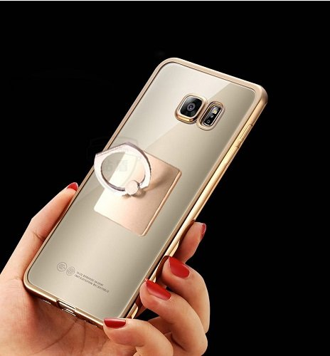 LOXXO Case cover for Samsung Galaxy Note 4 Ring Stand Case Soft Slim TPU Case Cover for Samsung Note 4 with 360 Degree Rotating Ring Stand (Gold)