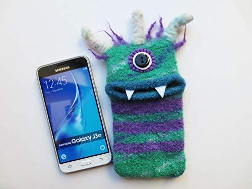 "L Smartphone Monster""Lucie"", gestrickt, gefilzt, Handy, passt z.B. für: Samsung Galaxy S6, S6 edge, Galaxy A5, iPhone XS, Tasche, Hülle, Handymonster, Filz"
