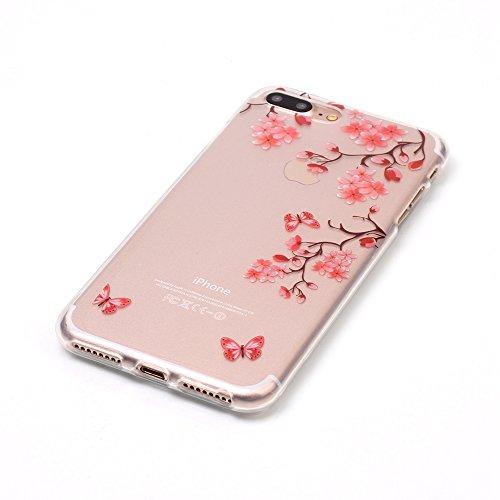 Coque iPhone 7 Plus, Étui iPhone 7 Plus, iPhone 7 Plus Case, ikasus® Coque iPhone 7 Plus Silicone Étui Housse [Étui en TPU doux peint coloré] Téléphone Couverture TPU Ultra Mince Premium Semi Hybrid C Fleur rose abricot
