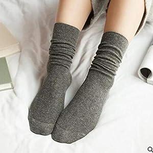 Sanzhileg Herbst-Winter-Weinlese-Mittelmädchen-Frauen-Socken-Breathable Art und Weise beiläufige Reine Farben-Baumwollmittelsocken – dunkelgrau