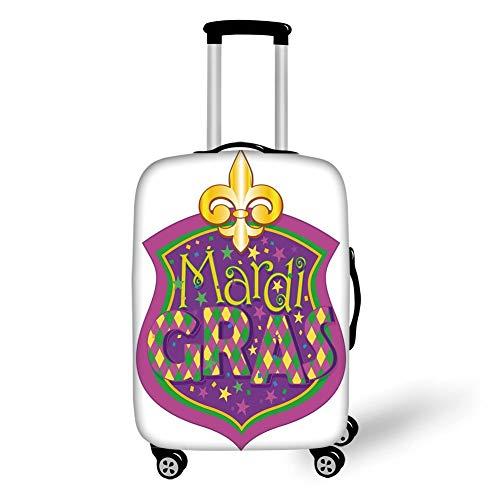 Travel Luggage Cover Suitcase Protector,Mardi Gras,Blazon Design Festive Mardi Gras Inscription and Fleur de Lis Symbol Decorative,Purple Yellow Green,for Travel M (Fleur Di Lis Gepäck)