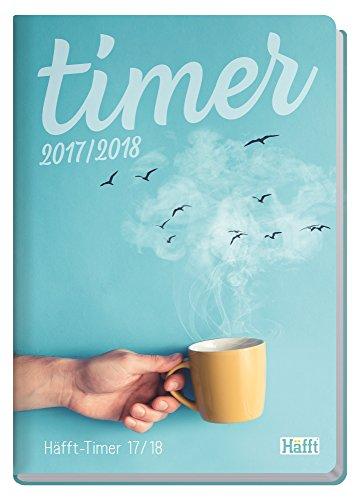 Häfft-Timer A5 2017/2018 [Morning Coffee] Fadenheftung, Hardcover, runde Ecken, Schülerkalender/Studentenkalender/Semesterplaner, August 2017 – Juli 2018