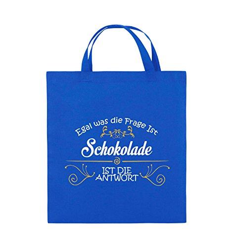 Comedy Bags - Egal was die Frage ist, Schokolade ist die Antwort. - Jutebeutel - kurze Henkel - 38x42cm - Farbe: Schwarz / Weiss-Neongrün Royalblau / Weiss-Gelb