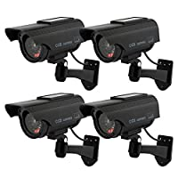 TOROTON Bullet Dummy Fake Security CCTV Solar Powered Camera Simulation Monitor with LED Blinking Light,Outdoor/Indoor Use for Homes & Business,4 Pack