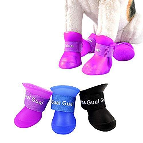 Huaaag Pet Stivali in Silicone Pioggia, Cute Little Pet Cucciolo Pioggia Stivali Stivali Candy Color Gomma Impermeabile Antiscivolo, Usura/Anti-Scivolo,Pink,M