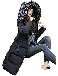 3e54a02b04798 Tomwell Abrigo Plumas de Cremallera Acolchado Chaqueta Largo con Capucha de  Larga para Mujer Invierno Chaqueta