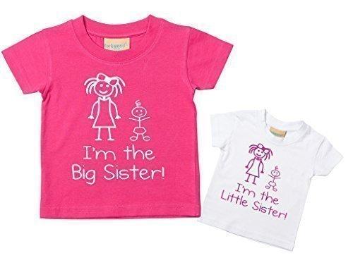 ster I'm The Big Schwester T-shirt Set Baby Kleinkind Kinder verfügbar in den Größen 0-6 Monate bis 14-15 Jahre Neu Baby Schwester Geschenk (Kleinkind-größe 4)