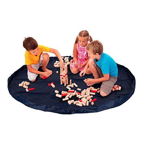 Bolsa de almacenaje recoge juguetes estilo alfombra. Tapete organizador ideal para almacenamiento de Lego. Manta y saco guarda juguetes para la habitación de niños pequeños. Multiusos y portátil