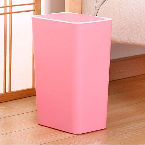 Kreative Mülleimer Familie Wohnzimmer Schlafzimmer Badezimmer Küche Rechteckige Covered Mülltonne Papierkorb Büro ( Color : Pink )